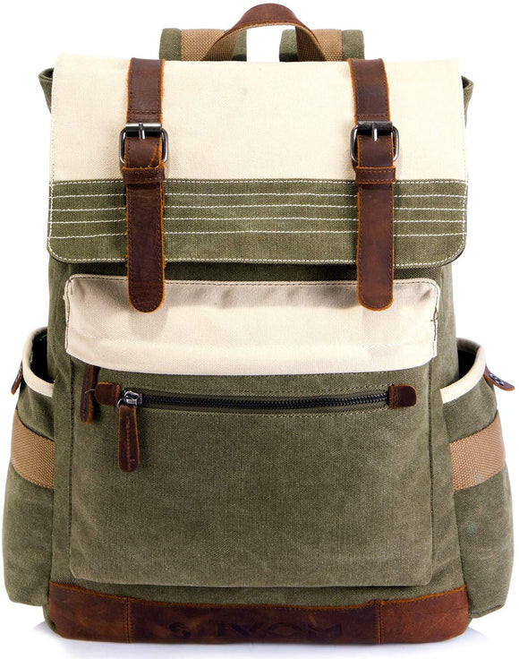Vintage Style Canvas Backpack Stylish Travel Rucksack 15