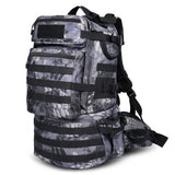 50L Military MOLLE Tactical Army Backpack with Waist Strap-Python Black Camo-ERucks