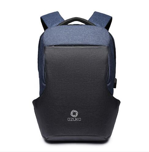 Multi-Function Anti-Theft Fashion Backpack with USB Charging-Blue-ERucks