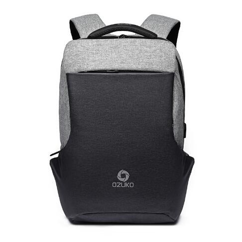 Multi-Function Anti-Theft Fashion Backpack with USB Charging-Gray-ERucks