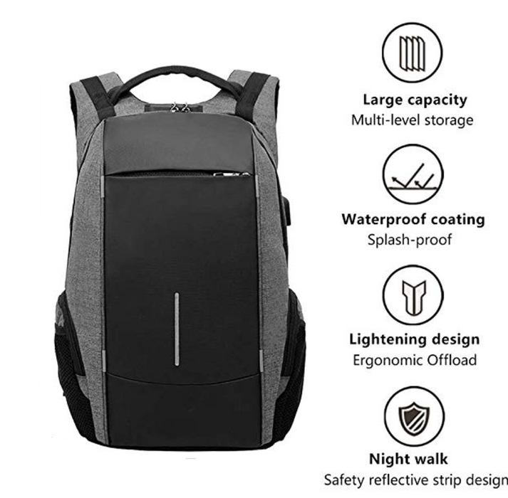 "Medium Sleek Two Tone Anti-Theft 17"" Laptop Backpack with USB Charging and TSA Lock"