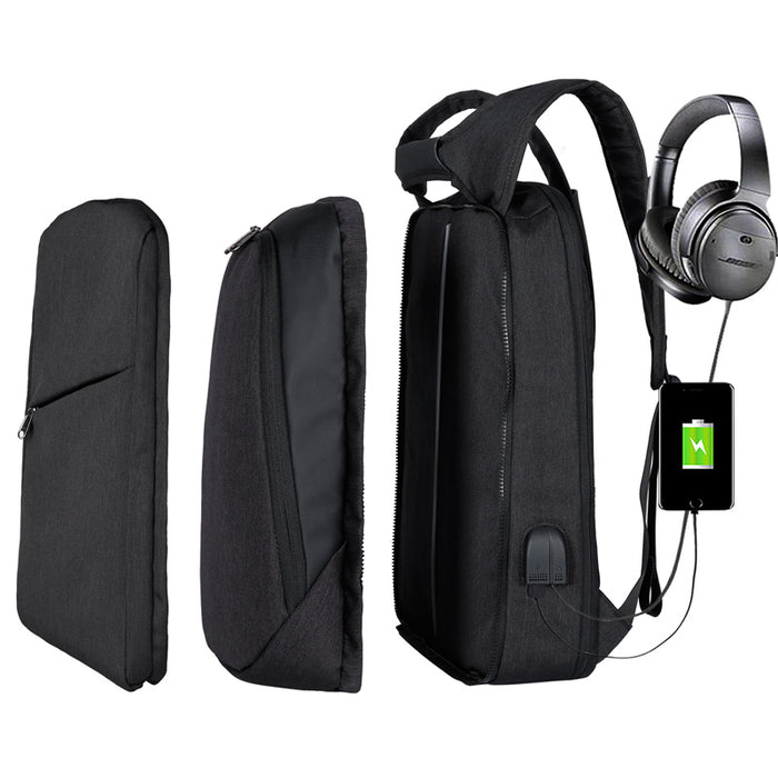 Slim Multi Compartment Laptop Backpack with USB Charging-J and H Black-17.3inch-ERucks