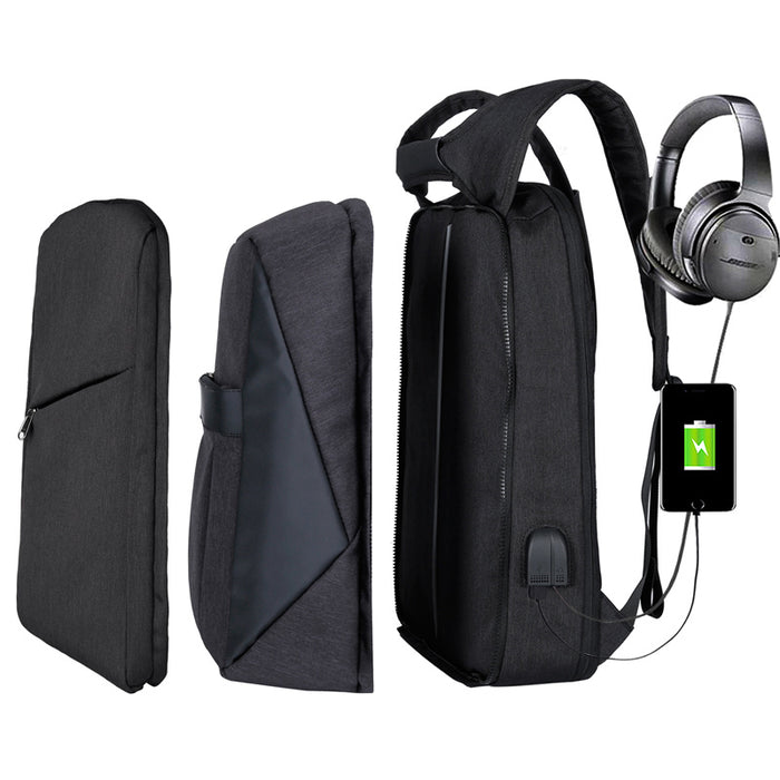 Slim Multi Compartment Laptop Backpack with USB Charging-J and R Black-17.3inch-ERucks