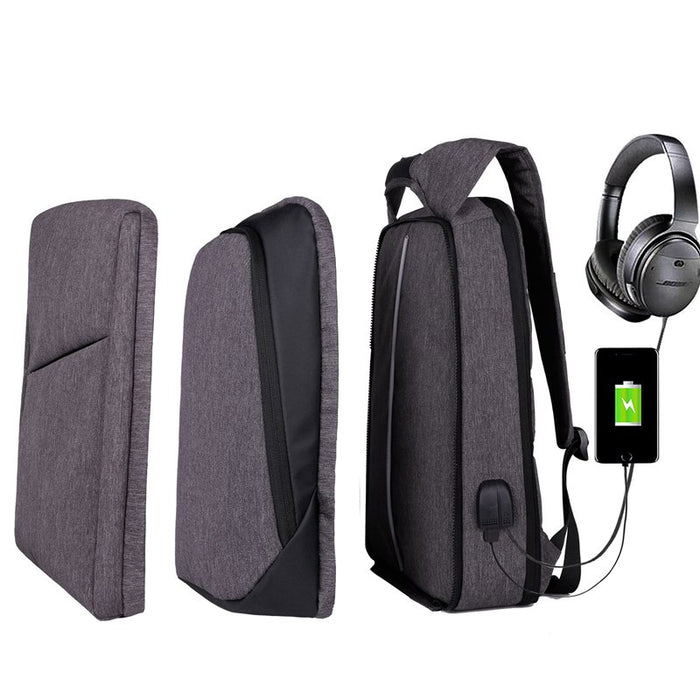 Slim Multi Compartment Laptop Backpack with USB Charging-J and H Grey-17.3inch-ERucks