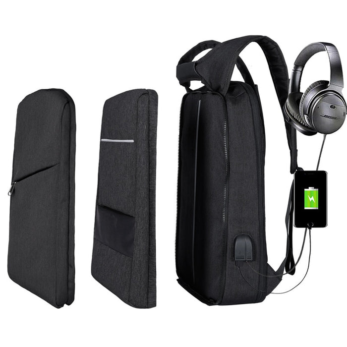 Slim Multi Compartment Laptop Backpack with USB Charging-J and V Black-17.3inch-ERucks