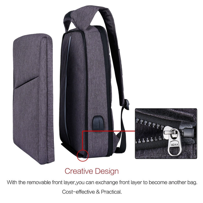 Slim Multi Compartment Laptop Backpack with USB Charging-1806 Basic Bag Black-17.3inch-ERucks