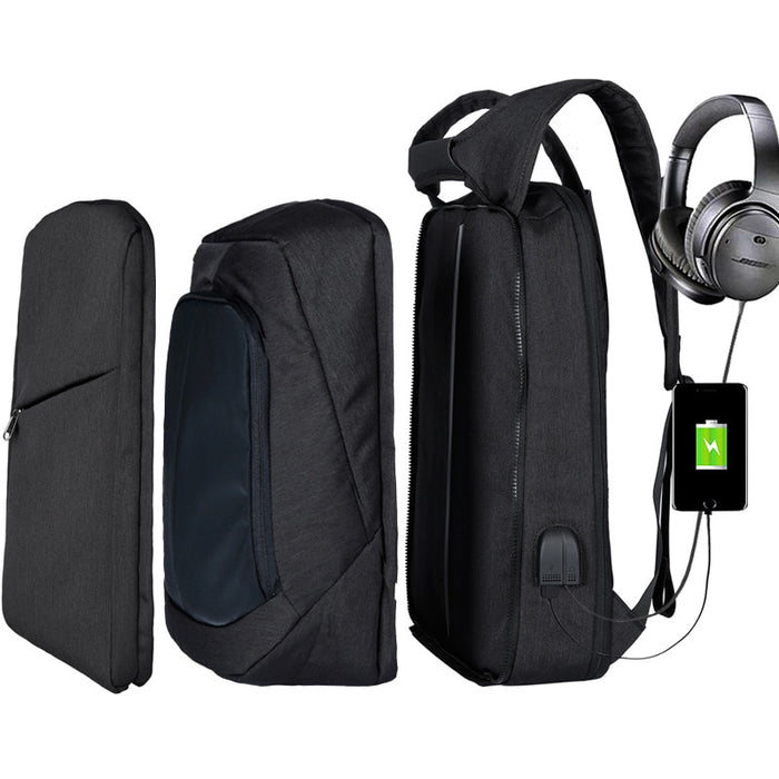 Slim Multi Compartment Laptop Backpack with USB Charging-J and U Black-17.3inch-ERucks