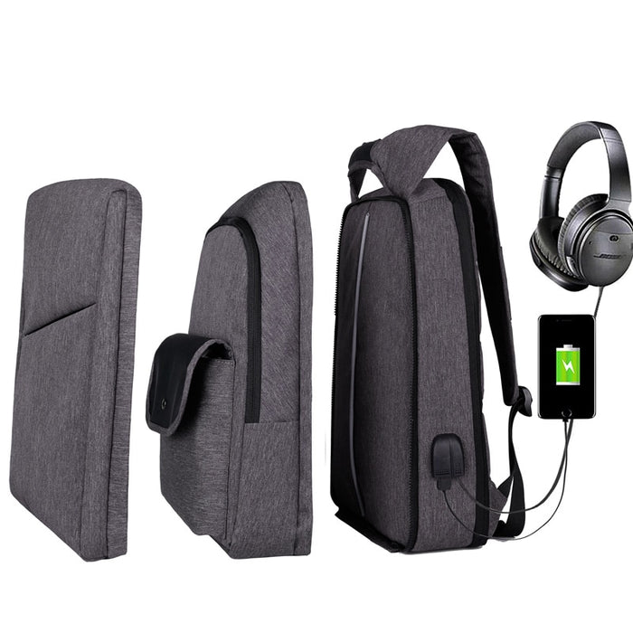 Slim Multi Compartment Laptop Backpack with USB Charging-J and I Grey-17.3inch-ERucks
