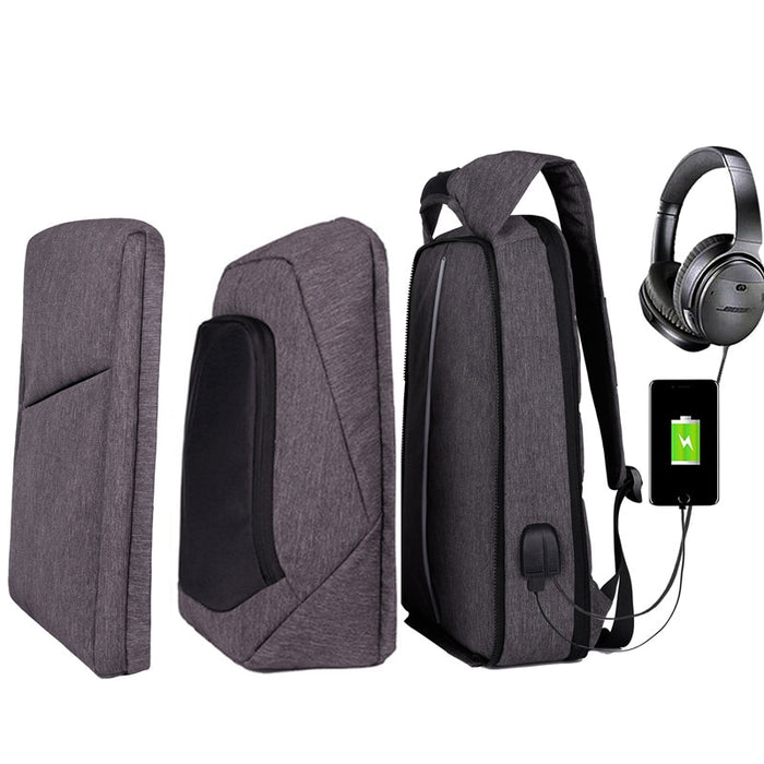Slim Multi Compartment Laptop Backpack with USB Charging-J and U Grey-17.3inch-ERucks