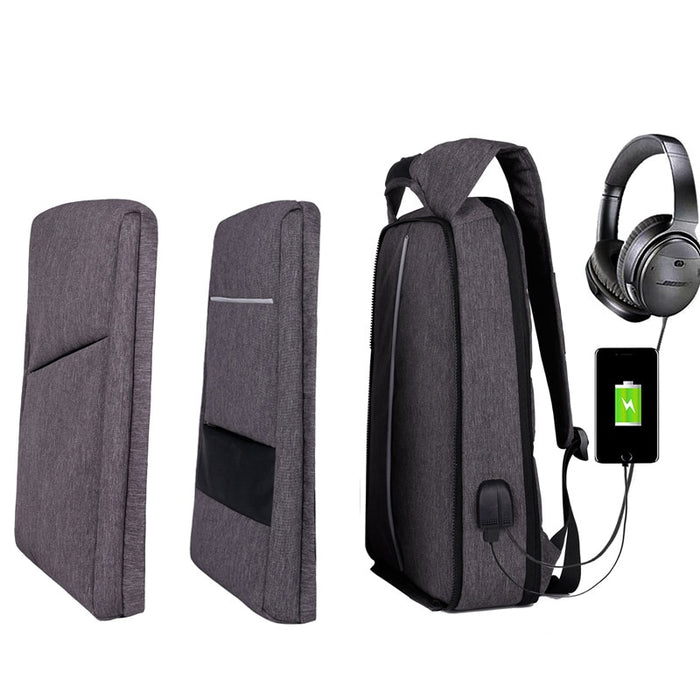 Slim Multi Compartment Laptop Backpack with USB Charging-J and V Grey-17.3inch-ERucks