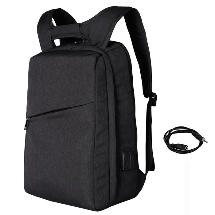 Slim Multi Compartment Laptop Backpack with USB Charging-Black-17.3inch-ERucks