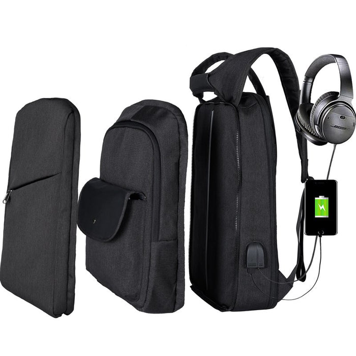 Slim Multi Compartment Laptop Backpack with USB Charging-J and I Black-17.3inch-ERucks