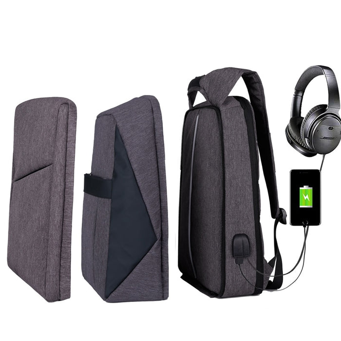 Slim Multi Compartment Laptop Backpack with USB Charging-J and R Grey-17.3inch-ERucks