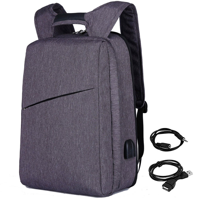 Slim Multi Compartment Laptop Backpack with USB Charging-Grey-17.3inch-ERucks