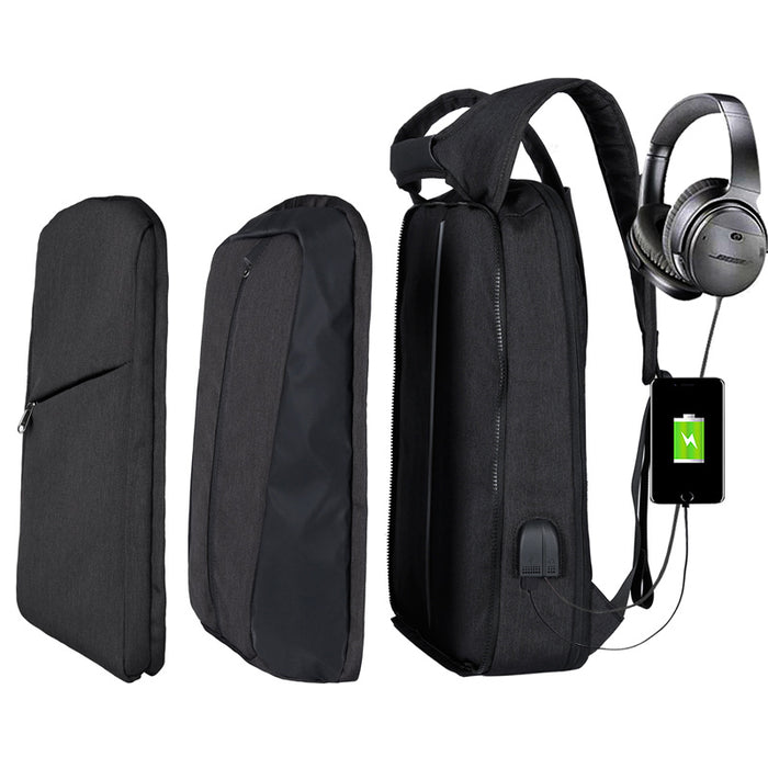 Slim Multi Compartment Laptop Backpack with USB Charging-J and G Black-17.3inch-ERucks
