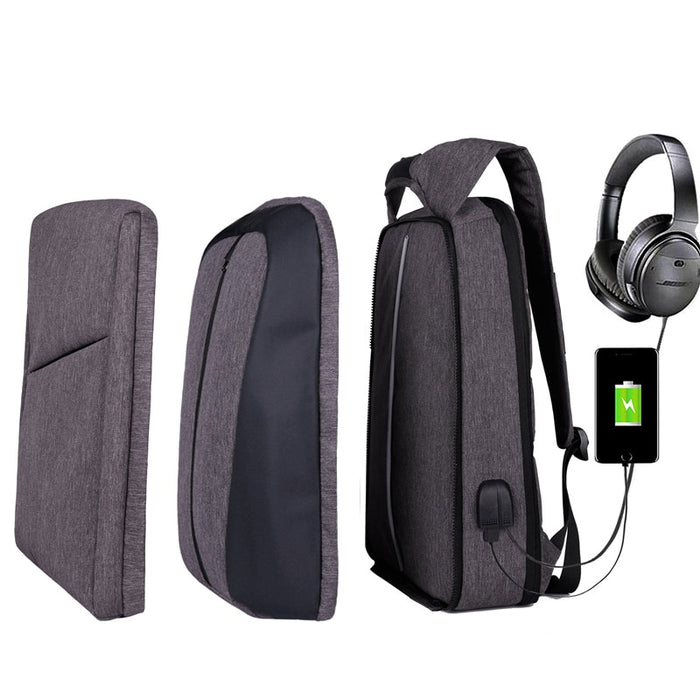 Slim Multi Compartment Laptop Backpack with USB Charging-J and G Grey-17.3inch-ERucks
