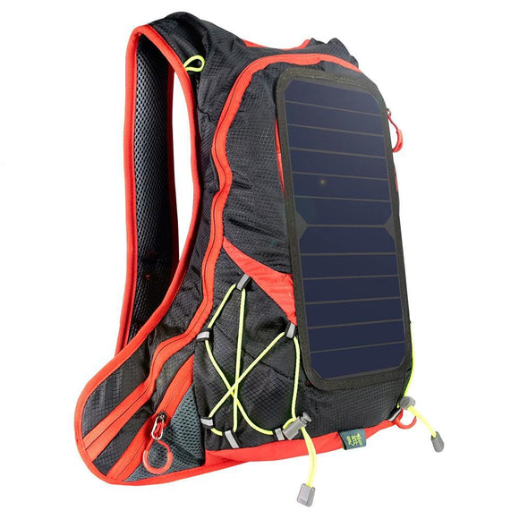 Sunset Red Super Ultralight Solar Powered Backpack with USB Charging