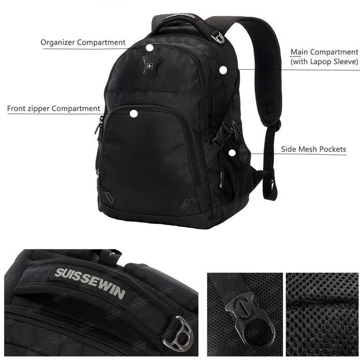Classic Swiss Design Medium Travel Backpack with Laptop Compartment