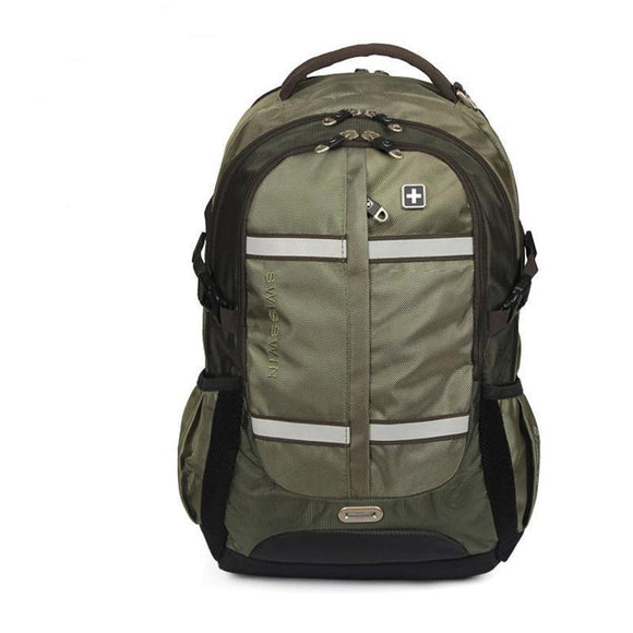 Swiss Design Green Nylon Large Travel Backpack