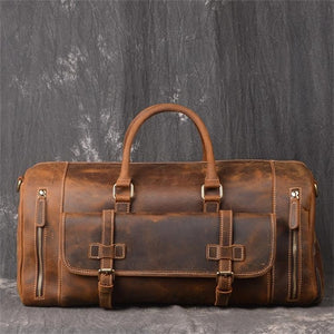 Crazy Horse Men's Vintage Distressed Leather Medium Barrel Duffel Bag