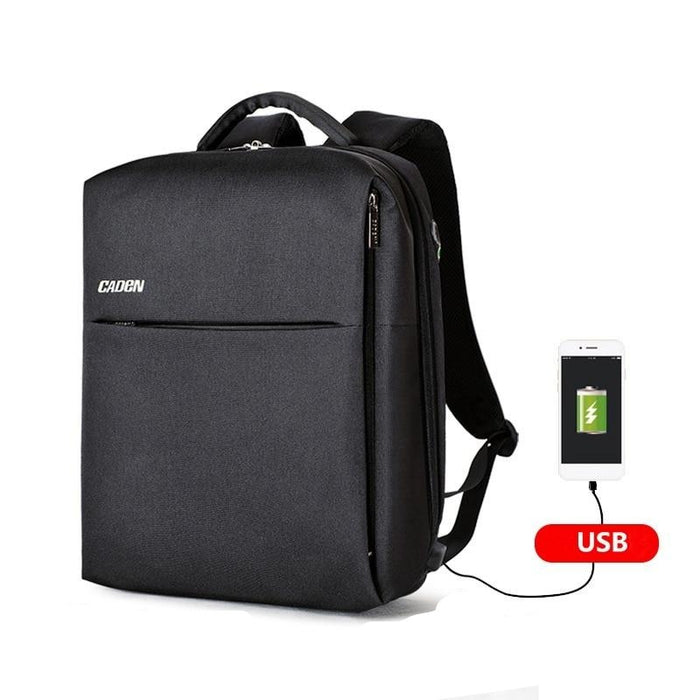"Caden Men's Square 15"" Laptop Backpack with USB Charging Port"