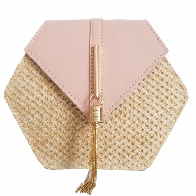 Women's Hexagon Straw and Vegan Leather Small Handbag