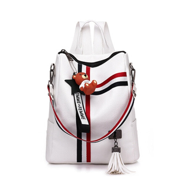 Women's Vintage 'Red White and Blue' Mini Vegan Leather Backpack
