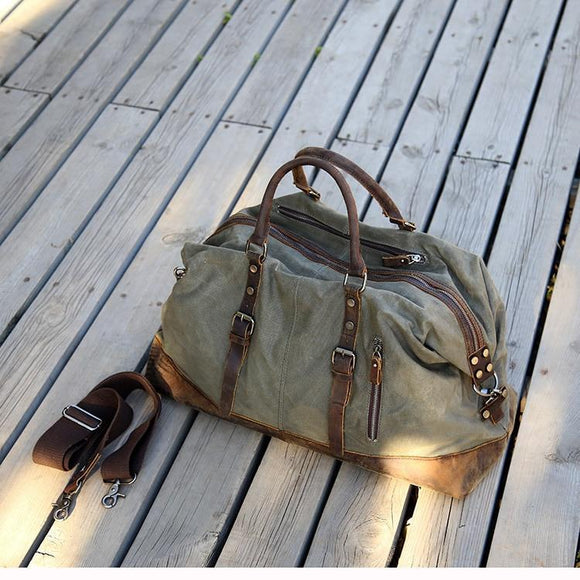 Men's Large Vintage Waxed Canvas Travel Duffel Bag