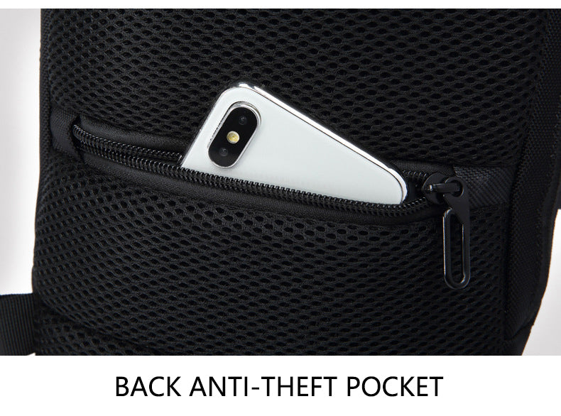 Men's Small Anti-Theft Sling Backpack with TSA Lock and USB Charging