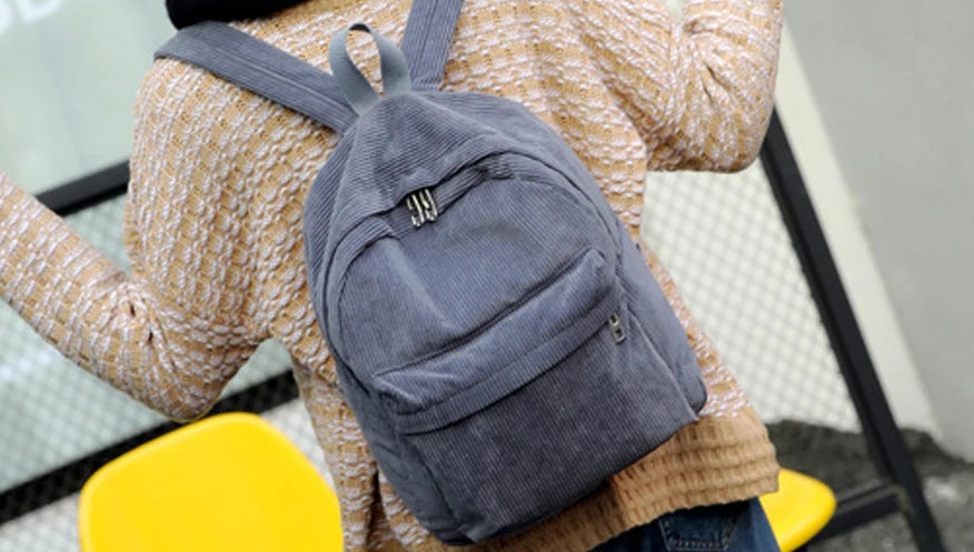 Women's Retro Medium Corduroy Backpack
