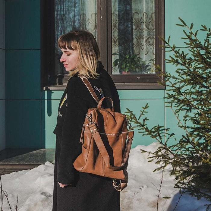 Women's Vintage Vegan Leather Tote Backpack