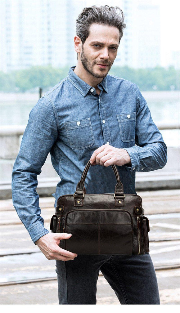 The Conducter Men's Small Leather Travel Hand Bag