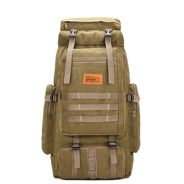 60L Large Military Molle Canvas Backpack