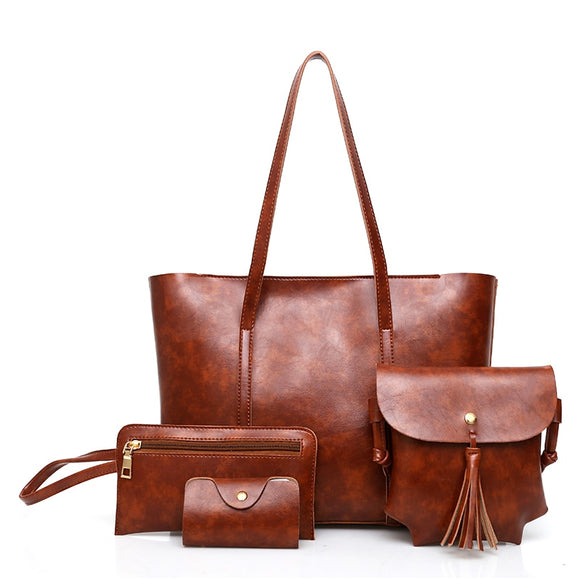 Women's Set of 4 Vegan Leather Tote HandBag CrossBody Purse and Wallet