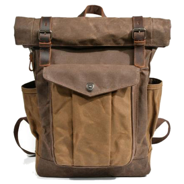 Men's Vintage Cowhide and Canvas Top Rolled Explorer Backpack