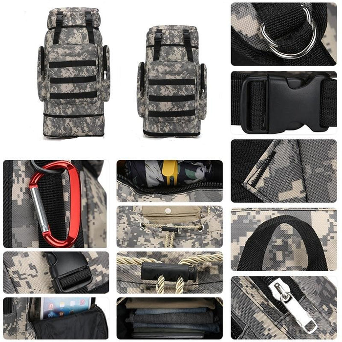 65L Large Capacity Hiking Camping Military Molle Backpack