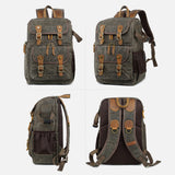 Men's Vintage Explorer Canvas Photographer 'Buckle and Brass' Large Travel Backpack