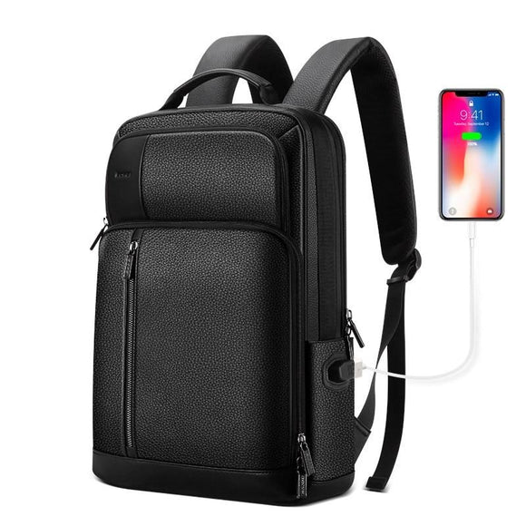 Men's Genuine Leather 15.6 Inch USB Charging Laptop Backpack