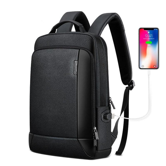 Men's Genuine Leather Travel Thin USB Charging Laptop Backpack