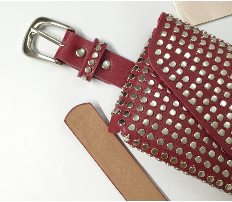 Women's Rivet Studded Leather Purse - Belt Bag