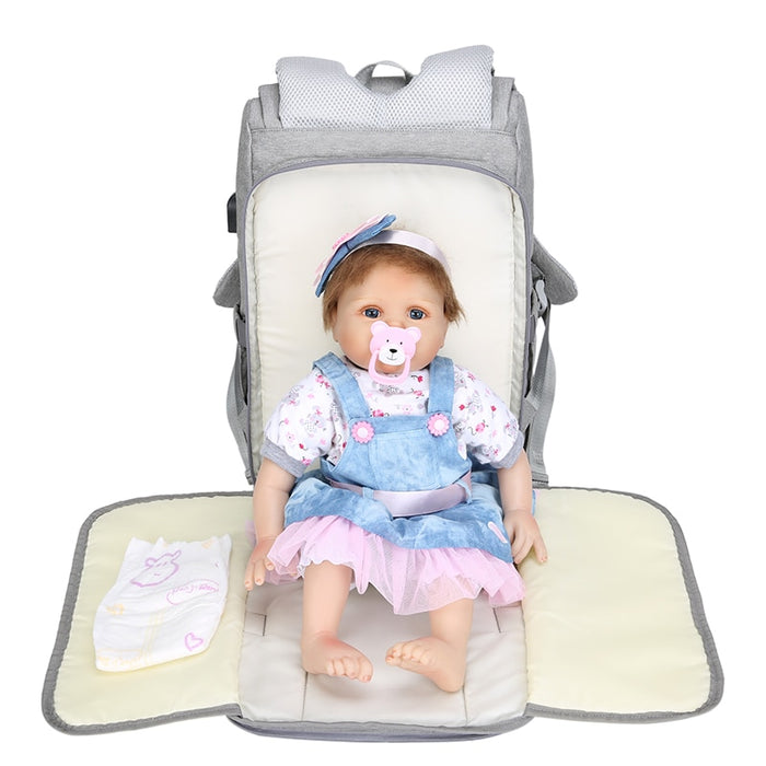 Maternity - Baby Diaper Organizer Backpack with Diaper Mat and USB Charging Port