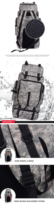 70L Large Camouflage Camping Trekking Backpack