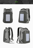 Men's Anti-Theft Solar Powered 10W Laptop Backpack with USB Charging