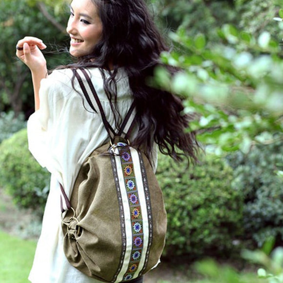 Women's Canvas Boho Backpack