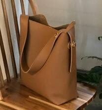 Women's Large Vegan Leather Bucket Tote Shoulder Bag