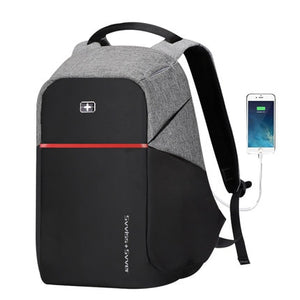 "Swiss Style Original Bobby Design Anti-Theft 15"" Laptop Backpack with USB Charging"