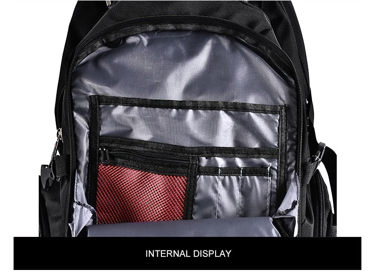 Large Capacity Heavy Duty Nylon 3 Compartment Travel Backpack with USB Charging and Lock