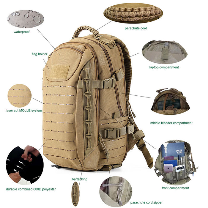 Protector Plus 25L Laser Cut Molle Tactical Backpack