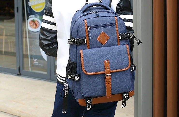 "Men's Casual Vintage Style 17"" Laptop Backpack"