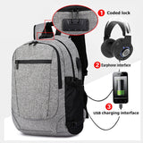 "Men's Medium Oxford Anti-Theft 15"" Laptop Backpack with USB Charging and TSA Lock"